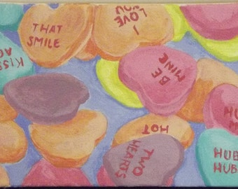 Sweet Conversation ACEO Art Card Acrylic Painting on Canvas