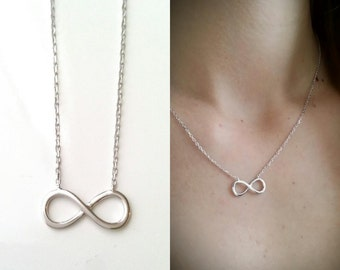 Silver infinity necklace 925 - necklace 925/000 adjustable size - 925 silver sterling silver infinity pattern, infinity necklace