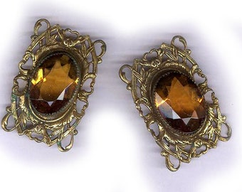 vintage AMBER GLASS CHANNEL set rectangle filigree connectors bridal findings brass russian gold plate