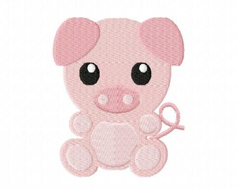 4X4 Baby Pig Machine Embroidery Design Multiple Formats Available - Instant Download