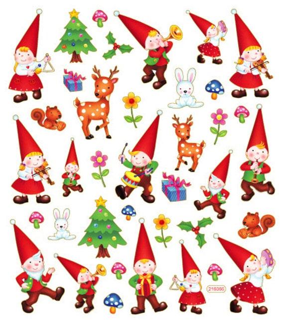Forest gnomes sticker garden gnome sticker christmas gnome - Clipart weihnachtswichtel ...