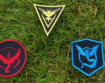 Iron-On Pokemon Go Team Patches, Pokemon Patch, Pokemon Badge, Instinct, Valor, Mystic, Pokemon Go, Team, Patch, Pokemon Go Patch, Pokemon
