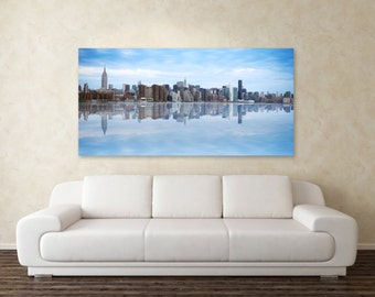 New York City Skyline Photography, Color NYC Skyline Photograph, Panorama Skyline, Urban Landscape, Manhattan Skyline Wall Art, NYC Decor