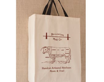 Market Bag, Free Shipping, Farmers Market Bag, Reusable Grocery Bag, Grocery Bag, Reusable Bag, Tote Bag,Canvas Bag, Butcher, Brooklyn