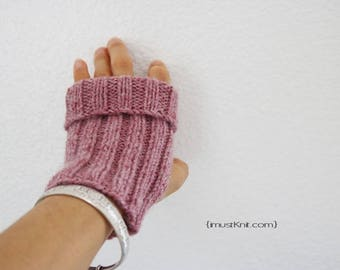 knitted fingerless gloves || 2-way to wear fingerless mittens ||| ribbed gloves || womens driving gloves -rose heather