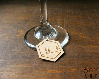 In The Woods Wine Glass Charms Set of 6 | Wine Lover Gifts | Wine Tags | Hostess Gift | Dinner Party Gift