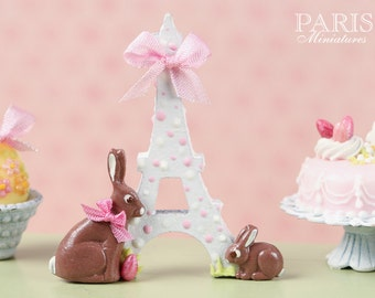 "MTO-An ""Easter in Paris"" Eiffel Tower and Chocolate Bunny Decoration for Spring (Pink Ribbon) - Miniature Decoration in 12th Scale"
