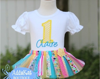 Personalized Sunny Days Fabric Tutu Birthday Outfit