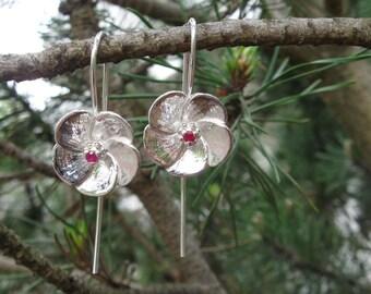 Ko'oloa'ula Sterling Silver and Ruby Earrings
