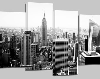 "new york manhattan/ black and white /set of 4 new frames/ 32""x 20"""