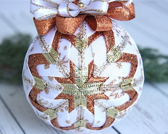 Quilted Christmas Ornament Ball-White-Copper-Gold-Winter's Wonder