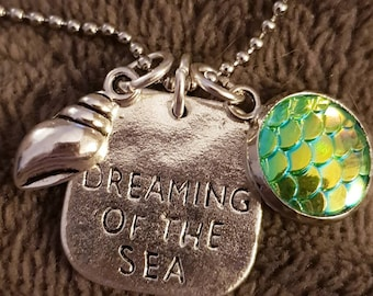Mermaid scale sea shell necklace. Christmas gift stocking filler ball chain