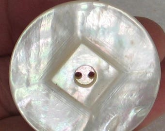 Vintage   36mm Mother of Pearl Button  2 hole