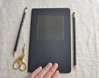 Gold Geometric Notebook with Embroidered Cover