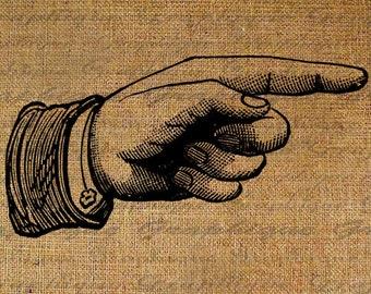 Hand Pointing Points Finger Fingers Vintage Design Digital Image Download Sheet Transfer to Pillows Totes Tea Towels Burlap No. 2931