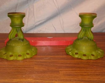 vintage green westmoreland early glass art deco candle holders