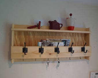 """34"""" Handcrafted Wooden Rustic wall mount Mail & Key Organizer, Coat Rack, Letter, 5 Premium Hooks, Shelf, Holder, Pick Color, Natural, Stain"""