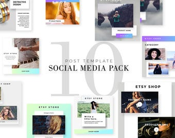 Instagram Pack of Ten, Facebook Post Template, Monthly, Blue, Grey, Purple,  Etsy Shop Ecommerce Jewelry, Fashion, Cute, Elegant, Pinterest