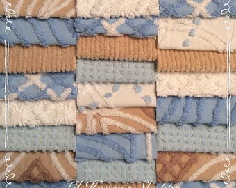 Chenille fabric quilt squares 25-6 inch blocks, pretty shades of Blue & beige, baby boy