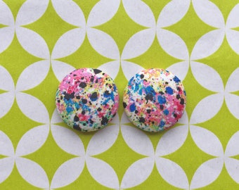 Wholesale Button Earrings / Splatter Paint / Fabric Covered / Small Studs / Statement Earrings / Bulk Accessories / Made in USA