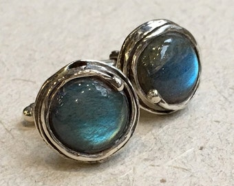 Labradorite cuff links, Gemstone cuff links, Silver cuff links, organic round cuff links, unique bohemian cuff links -  Notorious Wind C8001