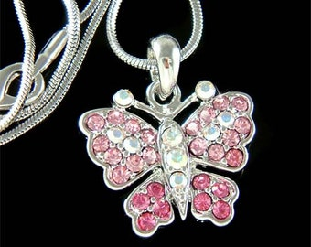 Swarovski Crystal Pink Rose BUTTERFLY Bridal Wedding Charm Pendant Chain Necklace Jewelry Best Friend Mother's Day New Christmas Gift Cute