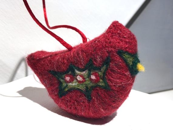 Wool Christmas Cardinal Ornament,  Holiday Decor, bird ornament, Needle Felted