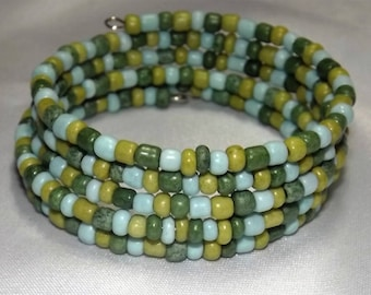 Bracelet of glass seed beads  on memory wire