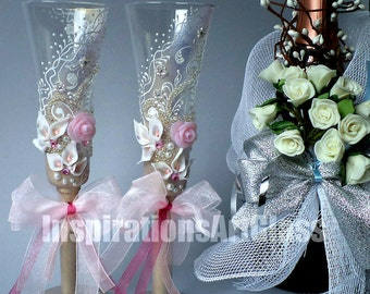 Champagne glasses Hand painted wedding glasses Champagne flutes Wine glasses Glasses Roses Set of 2 Personalized glasses