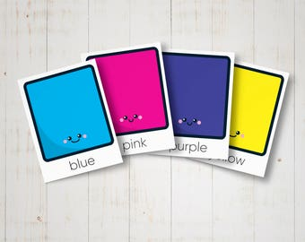 Flashcards colors for kids - Printable educational colour cards for preschool learning - Montessori inspired, busy bag, educational toy