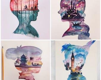 Disney painting etsy - Peinture princesse disney ...