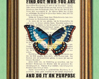 DO IT on PURPOSE - Dolly Parton Quote - Dictionary art print - Book page print recycled- Antique Book Page upcycled