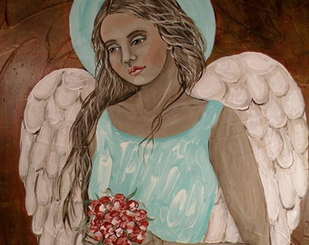 Folk Art Angel Bouquet Print of Painting by Lore