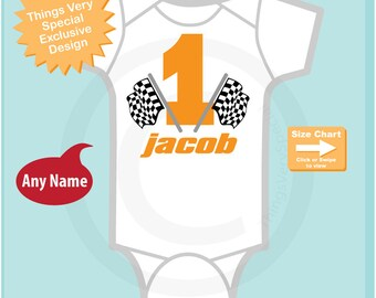 Racing Theme First Birthday Onesie Bodysuit, Personalized Short or Long Sleeve 01262017b
