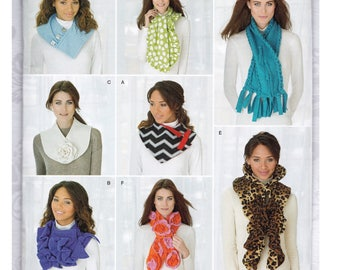 CLEARANCE - Simplicity 1235 - Uncut Scarf Sewing Pattern - Very Easy for Beginners - New Condition - 8 Styles