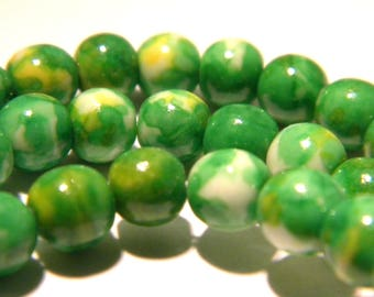 35 beads - 6 mm - colored jade - gemstones - natural jade stone-fine jade 6 mm - Green - G66-11