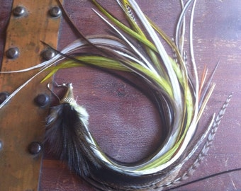XL Single Feather Earring 14 inch Earthy Natural Super Long Feather Earing Single Grizzly Olive, Hippie Feather Jewelry