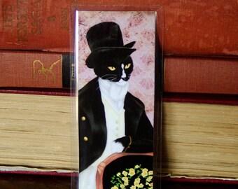 Mr Darcy Cat Bookmark, Pride and Prejudice Tuxedo Cat Art Bookmark