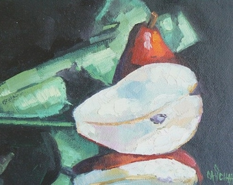 "Pear Still Life, Small Oil Painting, 6x8"" Original Oil,  Daily Painting,  ""Red Pears"" by Carol Schiff, Free Shipping in US"