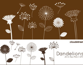 BUY 2 GET 1 FREE Dandelions clipart for personal and commercial use ( whimsical flower clip art ) vector graphics