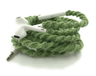 Wrapped Headphones for iPhone, Handmade iPhone Headphones, Design Earbuds, Custom Headphones, iPhone EarPods Tangle Free Earbuds in SAGE