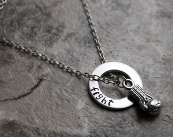 Fight Necklace, Boxing Glove Necklace, Boxing Jewelry, Fighter and Strength Necklace, MMA, Muay Thai, Motivational, WMMA