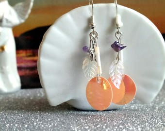 Irridescent shiny pink disc and amethyst bohemian dangle earrings, ready to ship Australian seller