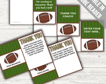 Football Thank You Cards (Ideal As A Thank You Coach Card, For Birthdays Or For Baby Showers). Add Your Own Text. Instant Download.
