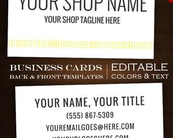 DIY Business Card Template - Elemental Simple Minimalist Premade Business Card Design Files DIY Text via Online Printer, PS, Publisher, etc