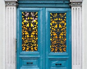 Paris Photography - Blue Paris Door in Evening, Architecture Fine Art Paris Print, French Home Decor, Large Wall Art