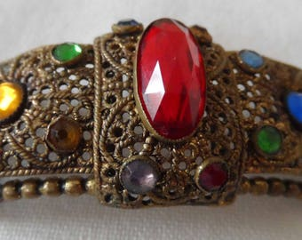 Vintage arched buckle/dress ornament multi colouredrhinestones