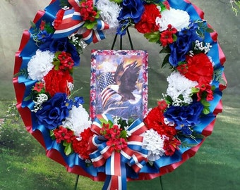 Patriotic Cemetery Wreath, Red, White and Blue, Cemetery Flowers, Gravesite, Memorial Day, Americana, Funeral Wreath, 4th of July, Fourth