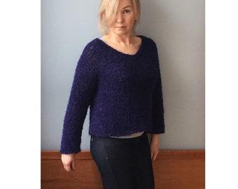 Women's crop sweater-Alpaca sweater-Hand knit sweater-Oversized sweater- Knit sweater-Crop top-Winter crop top-Cropped sweater-Short sweater