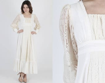 Gunne Sax Dress Wedding Dress Bridesmaids Dress Renaissance Dress Vintage 70s Dress Boho Sheer Ivory Floral Lace Hippie Prairie Maxi Dress